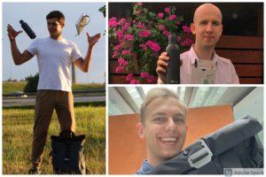 """Jungtinio KTU ir """"Nord security"""" konkurso prizininkai I. Narušis (iš kairės), L. Kapočius, M. Bacevičius (dešinėje, apačioje)"""